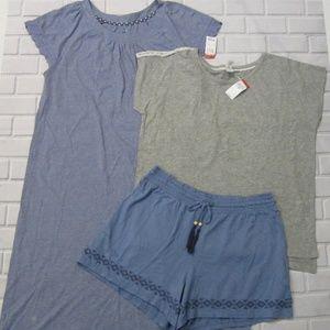 Lot of 3 PINK Pajama Nightgown Shirt Shorts Size M